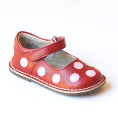 Angel Girls Pink Polka Dot Red Leather Mary Janes