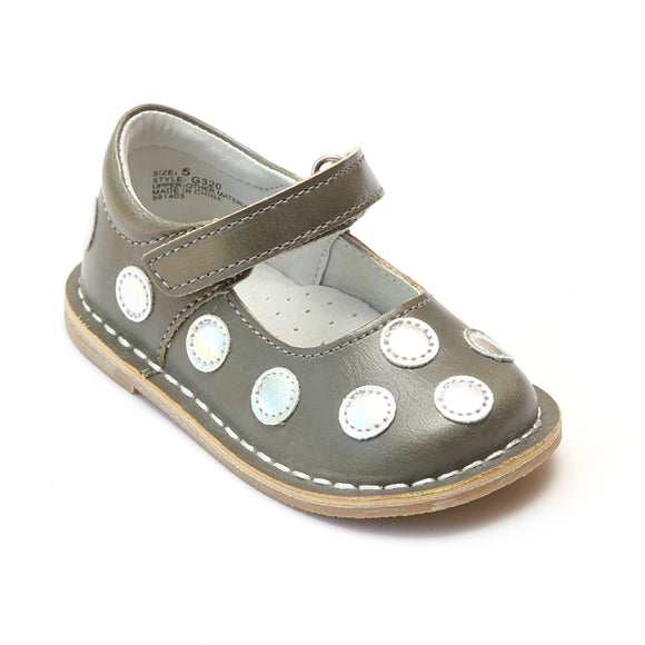 Angel Girls Silver Polka Dot Gray Leather Mary Janes - Babychelle.com
