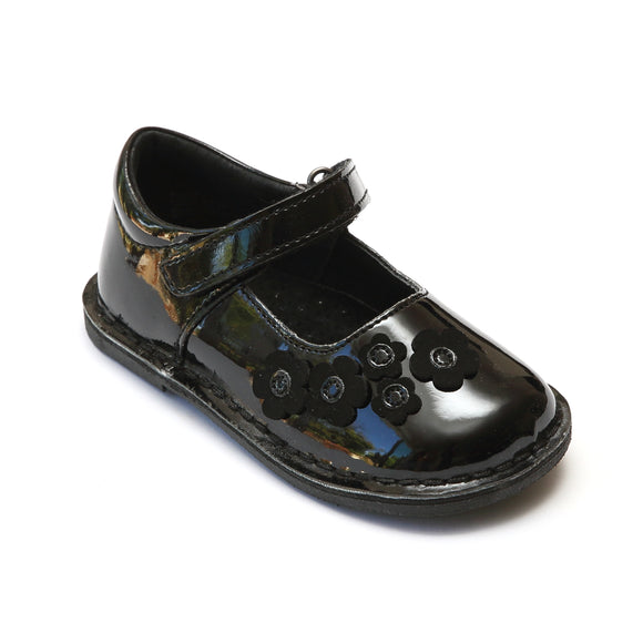 L'Amour Girls Patent Black Flower Blossom Mary Janes - Babychelle.com