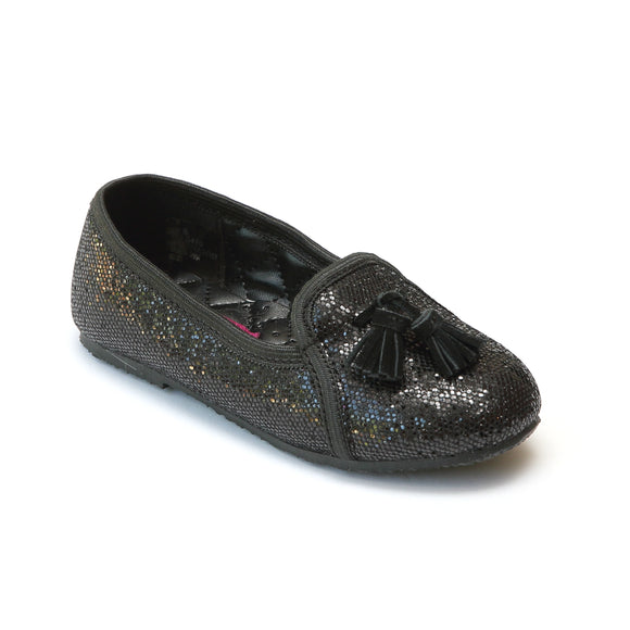 L'Amour Girls Black Tassel Sequin Slippers - Babychelle.com