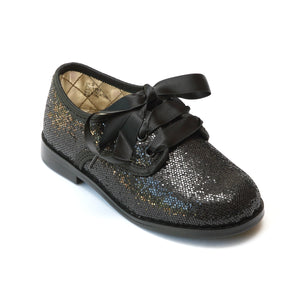 L'Amour Girls Black Sequin Lace Up Shoes - Babychelle.com