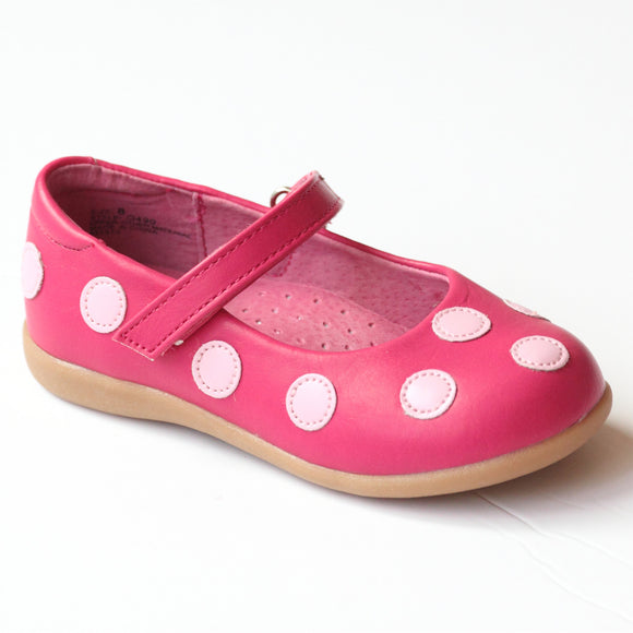 L'Amour Girls G490 Fuchsia Polka Dot Mary Janes
