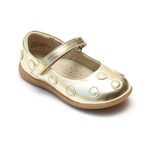 L'Amour Girls Gold Polka Dot Mary Janes - Babychelle.com