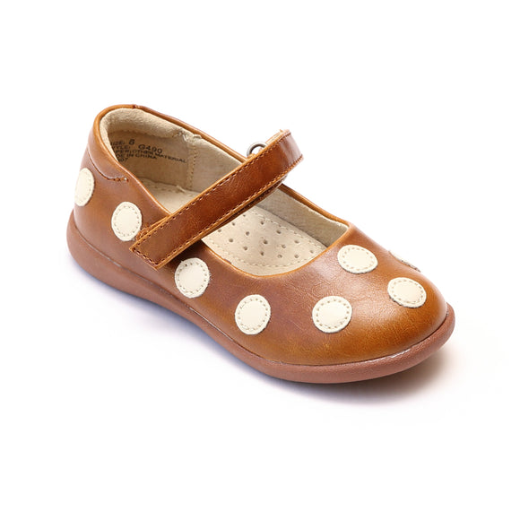 L'Amour Girls Light Brown Polka Dot Mary Janes - Babychelle.com