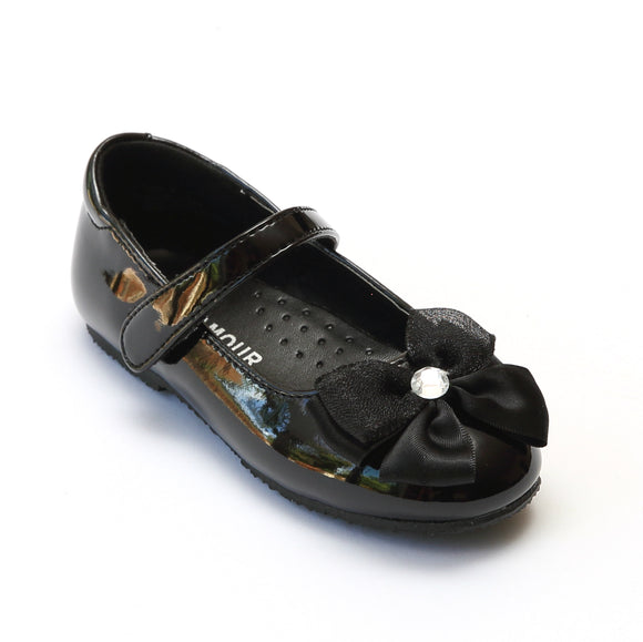 L'Amour Girls Patent Black Jeweled Satin Bow Flats - Babychelle.com