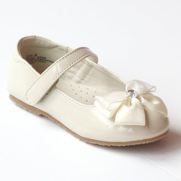 L'Amour Girls G588 Cream Jeweled Satin Bow Flats