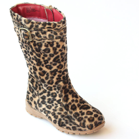 L'Amour Girls G860 Leopard Fashion Buckle Accent Boots