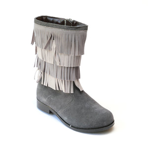 L'Amour Girls Gray Fringe Boots - Babychelle.com