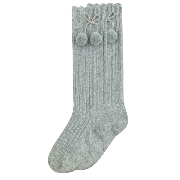 Girls Ribbed Gray Pom Pom Knee Socks - Babychelle.com