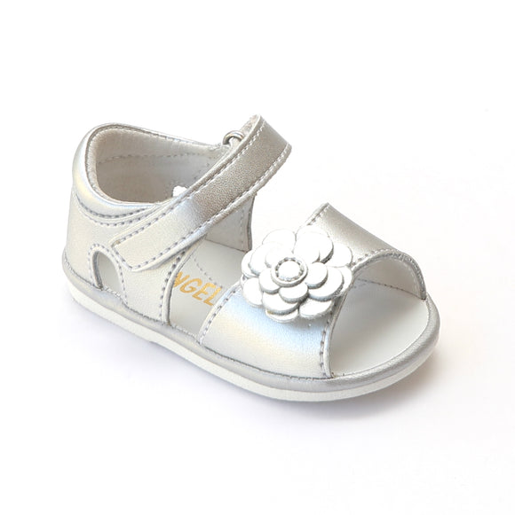 Angel Baby Girls Silver Flower Leather Open Toe Sandals - Babychelle.com