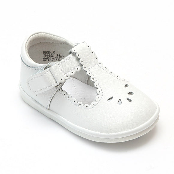 Angel Baby Girls White Scalloped T-Strap Mary Janes