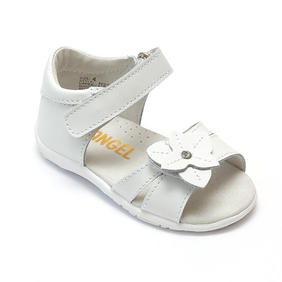 Angel Baby Girls White Triangular Flower Sandals - Babychelle.com