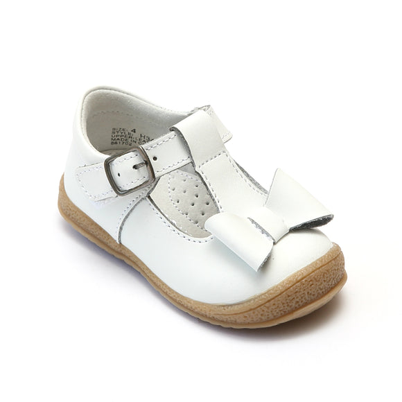 L'Amour Girls White T-Strap Bow Mary Janes - Babychelle.com