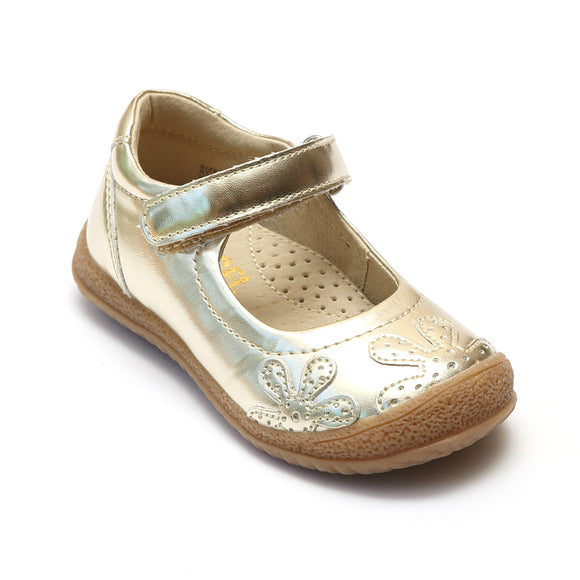Angel Baby Girls Gold Flower Stitched Mary Janes