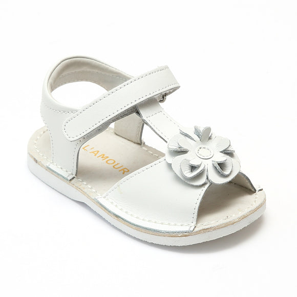 L'Amour Girls White Curly Flower Sandals - Babychelle.com