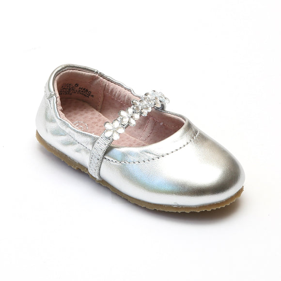 L'Amour Girls H480 Silver Ballet Shoes - Babychelle.com