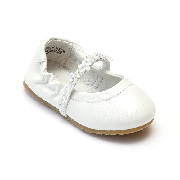 L'Amour Girls White Leather Flower Girl Flats - Babychelle.com