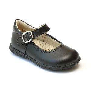 L'Amour Girls Black Scalloped Trim Leather Mary Janes - Babychelle.com