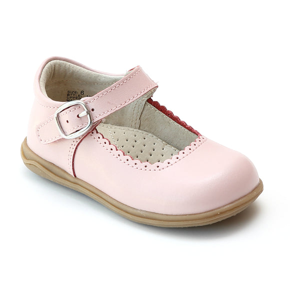 Angel Girls Pink Scalloped Trim Leather Mary Janes - Babychelle.com