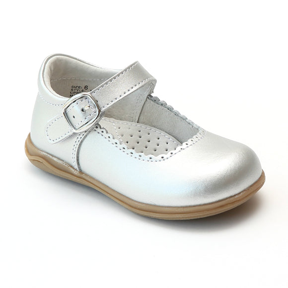 Angel Girls Silver Scalloped Trim Leather Mary Janes - Babychelle.com