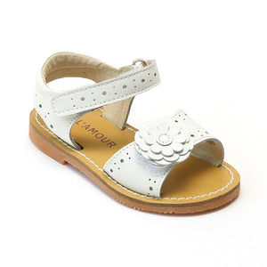 L'Amour Girls White Gerbera Leather Sandals - Babychelle.com
