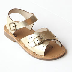 L'Amour Girls Gold Leather Buckled Sandals