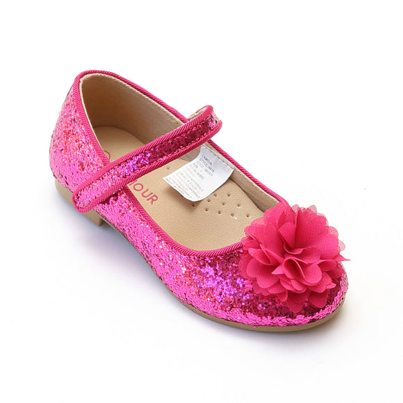 L'Amour Girls Fuchsia Glitter Special Occasion Flats - Babychelle.com