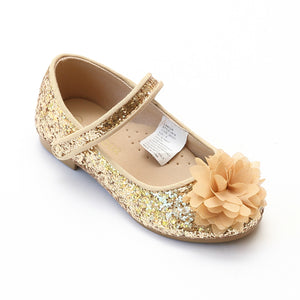 L'Amour Girls Gold Glitter Special Occasion Flats - Babychelle.com