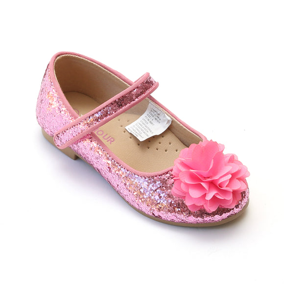 L'Amour Girls Pink Glitter Special Occasion Flats - Babychelle.com