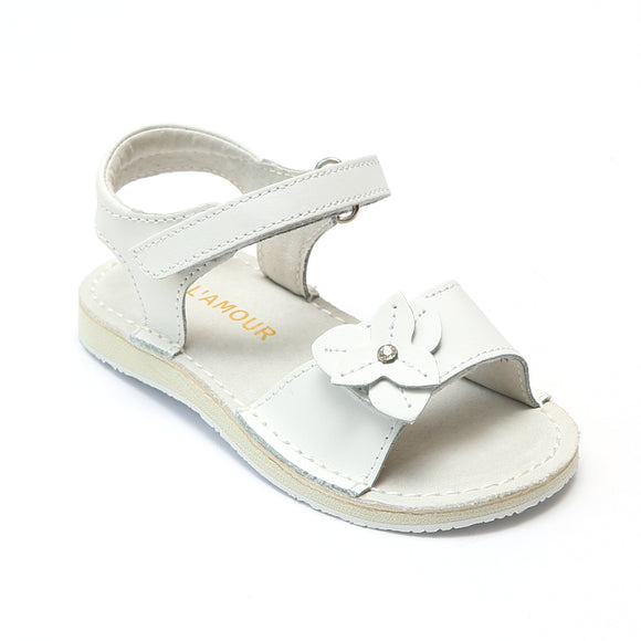 L'Amour Girls Triangular White Leather Flower Sandals  - Babychelle.com