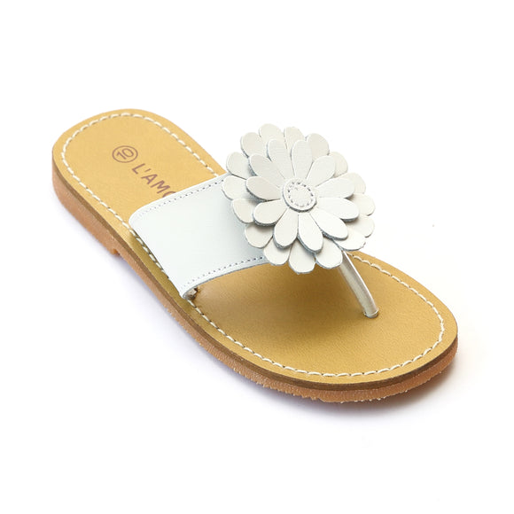 L'Amour Girls White Tonal Flower Thong Sandal - Babychelle.com