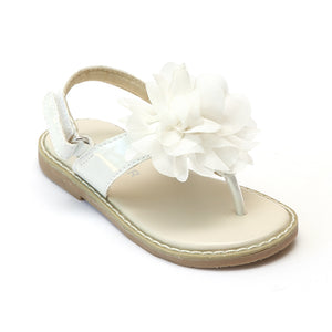 L'Amour Girls White Organza Flower Thong Sandals - Babychelle.com