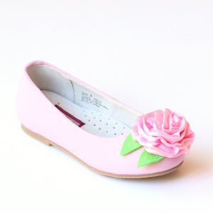 L'Amour Girls Pink Special Occasion Rosette Flats