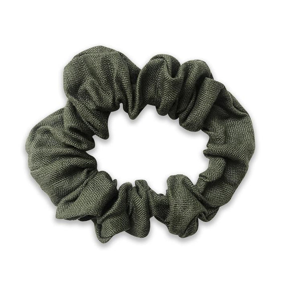 Hannah Girls Moss Green Linen Hair Scrunchie - Babychelle.com