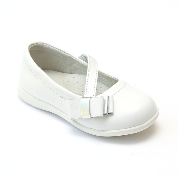 L'Amour Girls White Sporty Bow Mary Janes - Babychelle.com