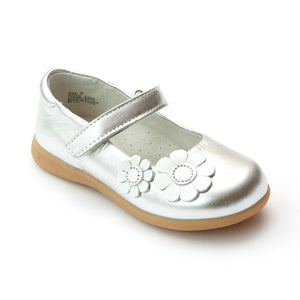 L'Amour Girls J348 Silver Sporty Flower Mary Janes - Babychelle.com