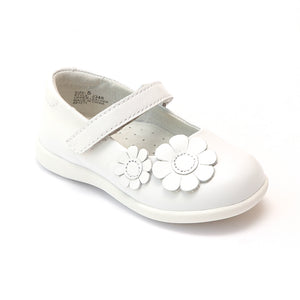 L'Amour Girls Flower Power White Sporty Mary Janes - Babychelle.com