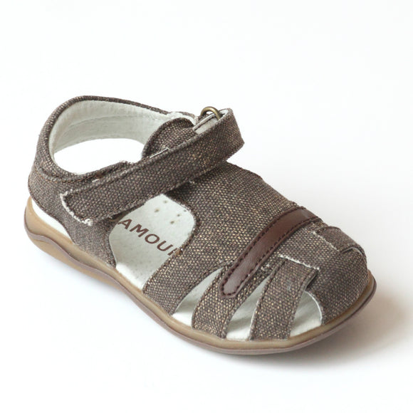 L'Amour Boys J350 Canvas Brown Sandals