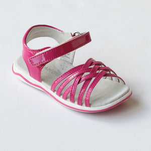 L'Amour Girls J410 Patent Fuchsia Crisscross Sandals