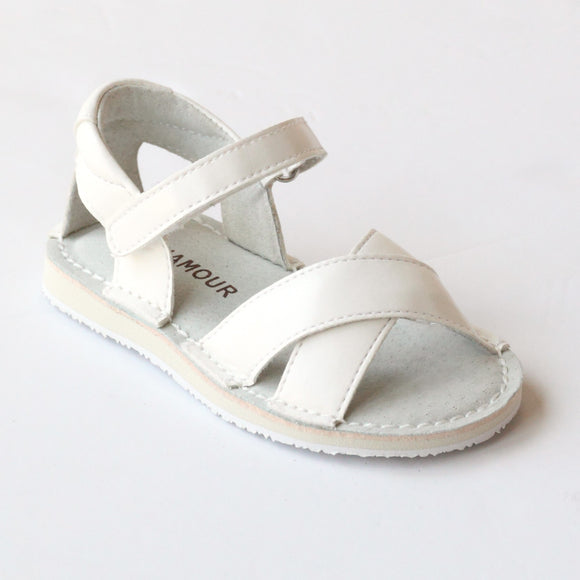 L'Amour Girls J660 White Crisscross Sandals