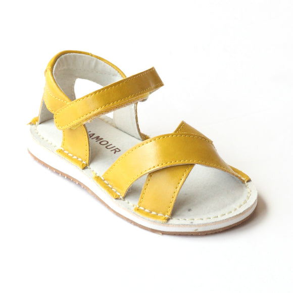 L'Amour Girls Yellow Crisscross Sandals