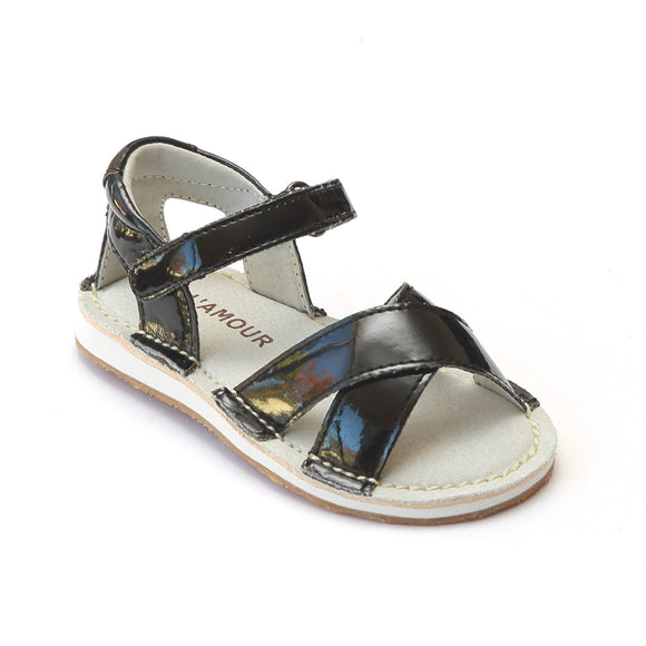 L'Amour Girls Patent Black Crisscross Sandals - Babychelle.com