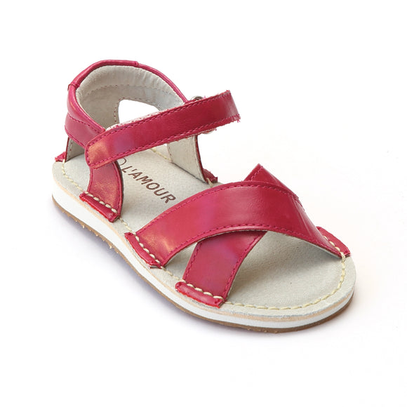 L'Amour Girls Fuchsia Criss Cross Strap Stitch Down Sandals - Babychelle.com