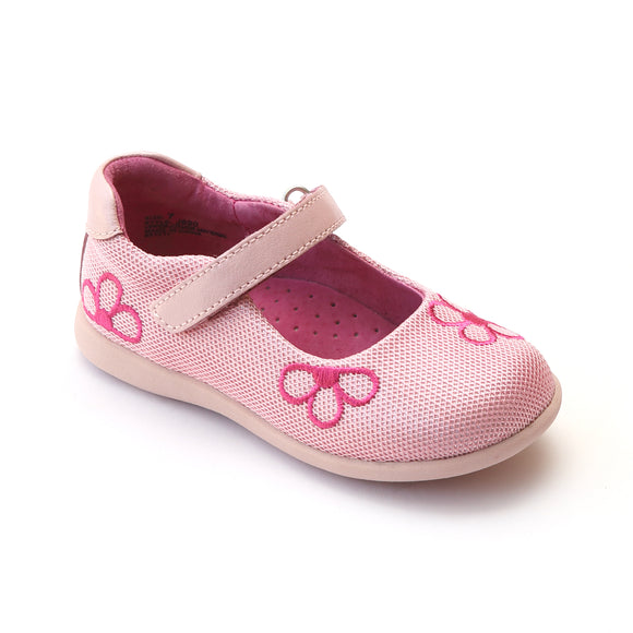 L'Amour Girls Pink Mesh Mary Jane with Embroidered Flowers - Babychelle.com
