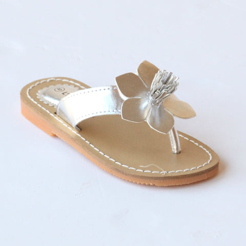 L'Amour Girls J720 Silver Flower Thong Sandals