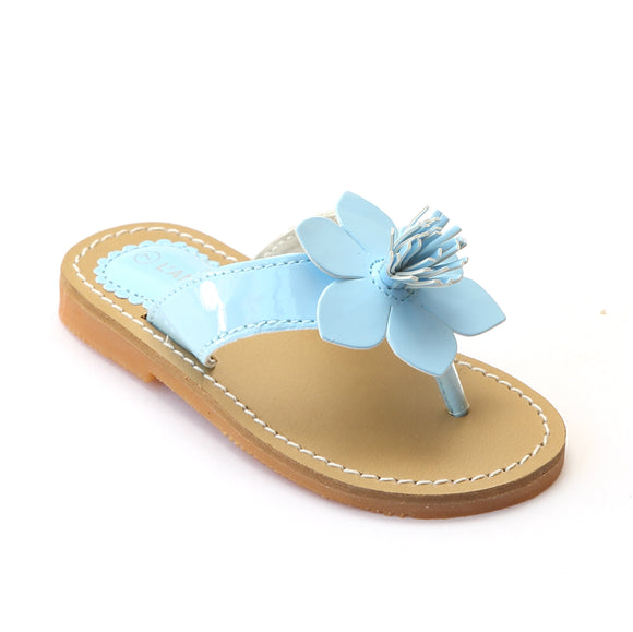 L'Amour Girls Light Blue Flower Thong Sandal - Babychelle.com