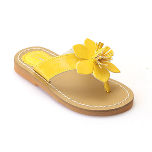 L'Amour Girls J720 Yellow Flower Thong Sandals - Babychelle.com