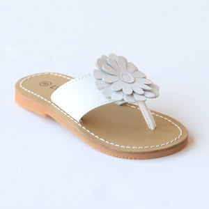 L'Amour Girls J740 White Flower Thong Sandals