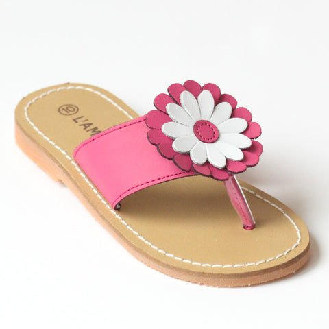 L'Amour Girls J740 Fuchsia Flower Thong Sandals