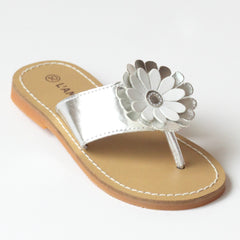 L'Amour Girls J740 Silver Flower Thong Sandals